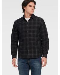 DKNY Plaid Button Up Shirt - Black