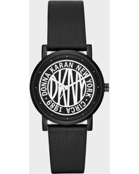 DKNY - Soho 34mm Matte Black Stainless-steel Logo Watch With Leather Strap - Lyst