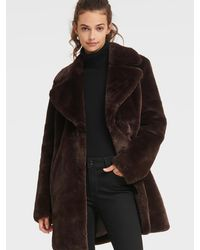 DKNY Faux Fur Coat With Oversized Collar - Black