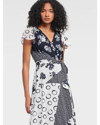 DKNY Multi Patchwork Faux Wrap Dress - Blue