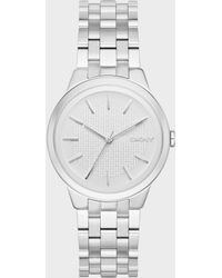 DKNY Park Slope Three Hand Stainless Steel Watch- Silver-tone - Metallic