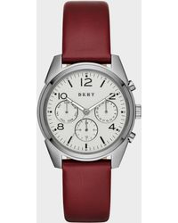 DKNY - Crosby Lacquer Leather And Grey Ip Chronograph Watch - Lyst