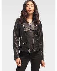 DKNY Leather Motorcycle Jacket - Black