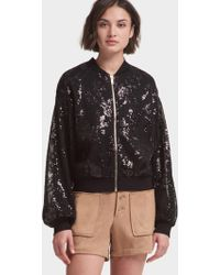DKNY - Sequined Bomber Jacket With Balloon Sleeve - Lyst