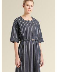 DKNY Collarless Striped Dress With Belt - Blue