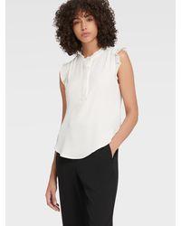 DKNY Sleeveless Ruffled Blouse - White