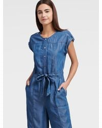 DKNY Denim Belted Jumpsuit - Blue