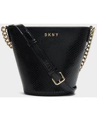 DKNY Kim Textured Leather Bucket Bag - Black