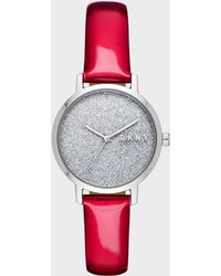 DKNY - Modernist 32 Mm Stainless Steel Watch — Red - Lyst