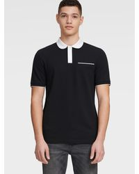 DKNY Pique Polo With Chest Pocket - Black