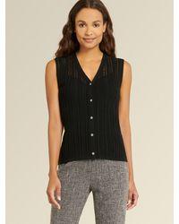 DKNY Donna Karan Sleeveless Crochet Sweater - Black