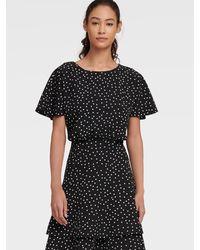 DKNY Pebble Dot Fit & Flare Dress - Black