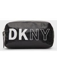 DKNY Coated Canvas Logo Cosmetics Pouch - Black