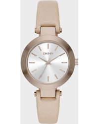 DKNY - Stanhope Beige Leather 3 Hand Watch - Lyst