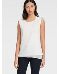 DKNY Sleeveless Mixed Media Top With Tie Shoulder Detail - White