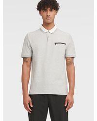 DKNY Interlock Short Sleeve Polo - Gray