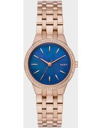 DKNY - Park Slope Rose Gold-tone Three-hand Watch - Lyst