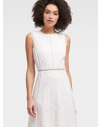 DKNY Sleeveless Eyelet Dress - White