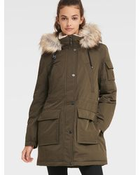 DKNY Anorak With Faux Fur Hood - Multicolor