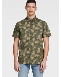 DKNY Short Sleeve Button-up Camo Shirt - Green