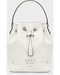 DKNY Unisex Thompson Bucket Bag - White