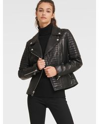 DKNY Quilted Leather Moto Jacket - Black
