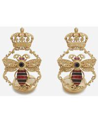 Dolce & Gabbana Gemelli King In Oro Giallo Con Smalti E Diamanti Neri - Metallizzato