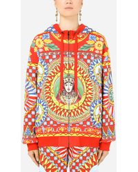 Dolce & Gabbana Jersey Hoodie With Carretto Print - Multicolor