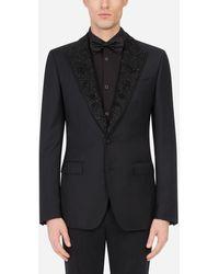 Dolce & Gabbana Wool Taormina-Fit Tuxedo Jacket With Embroidery - Schwarz