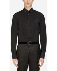 Dolce & Gabbana Cotton Gold-Fit Tuxedo Shirt - Schwarz