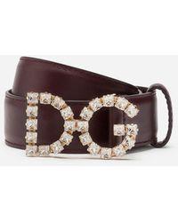 Dolce & Gabbana Calfskin Belt With Dg Rhinestones Logo - Brown