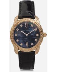 Dolce & Gabbana Uhr Dg7 Gattopardo Aus Rotgold Mit Schwarzem Perlmutt Und Diamanten