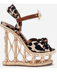 Dolce & Gabbana Wedges In Wicker And Raffia With Flocked Leopard Print And Bejeweled Buckle - Multicolor