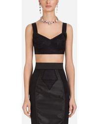 Dolce & Gabbana Lace And Satin Corset Top - Negro