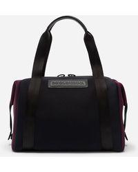 Dolce & Gabbana Monreale Tecnico Travel Bag In Two-tone Neoprene With Heat-stamped Logo - Black