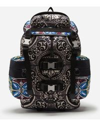 Dolce & Gabbana Nylon Backpack With Maiolica Print - Nero