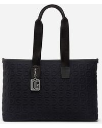 Dolce & Gabbana Neoprene Palermo Tecnico Bag With All-Over Dg Detailing - Schwarz