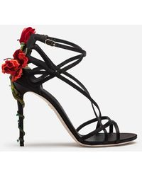 Dolce & Gabbana Satin Sandals With Embroidery - Black