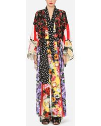 Dolce & Gabbana Patchwork Crepe De Chine Robe - Red