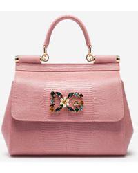 Dolce & Gabbana Small Sicily Handbag In Iguana Print Calfskin With Dg Logo Crystals - Pink