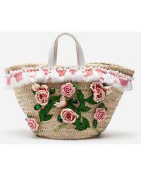 Dolce & Gabbana Straw Kendra Coffa Bag With Embroidery - Multicolour