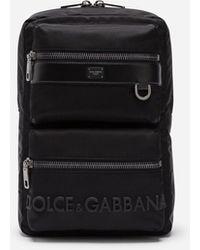 Dolce & Gabbana Rucksack Sicilia Dna Aus Nylon Mit Gummiertem Logo - Schwarz