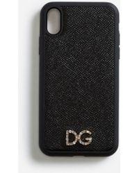 Dolce & Gabbana Cover Für Iphone Xr Aus Dauphine-Kalbsleder Mit Kristall-Logo - Schwarz