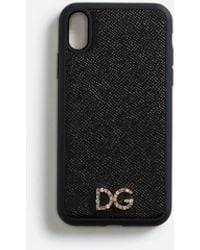 Dolce & Gabbana Cover Iphone Xr In Vitello Dauphine Con Logo Cristalli - Nero