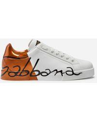 Dolce & Gabbana - Metallic Patent Calfskin Portofino Sneakers - Lyst