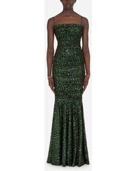 Dolce & Gabbana Long Sequined Dress - Verde