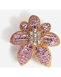 Dolce & Gabbana Ring With Rhinestone Flower Detail - Metallic