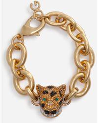Dolce & Gabbana Chain Bracelet With Decorative Leopard In Crystal Pavé - Metallizzato