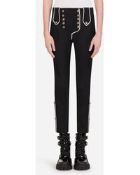 Dolce & Gabbana Low-Rise Twill Pants With Decorative Buttons - Noir
