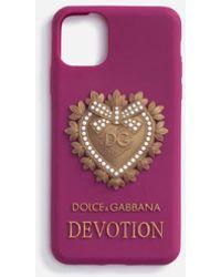 Dolce & Gabbana Coque Pour Iphone 11 Pro En Caoutchouc Devotion - Violet
